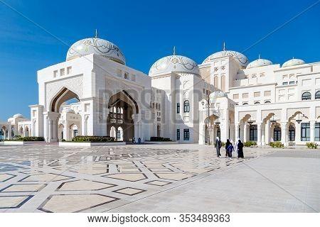 Abu Dhabi, Uae - December 30, 2019: Presidential Palace Qasr Al Watan During Sunny Day