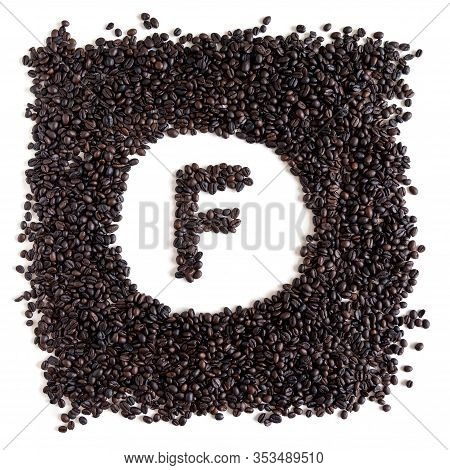 Letter F Made From Coffee Beans Isolated On White Background, Square Format, Flat Lay