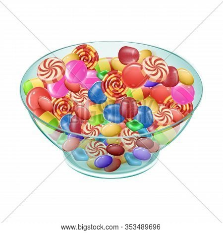 Colored Candies Different Varieties In Plate On White Background. Sweets. Natural Candy. Vector Illu