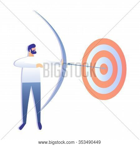 Business Goal Achievement Flat Vector Illustration. Man Hit Target With Bow And Arrow Cartoon Charac