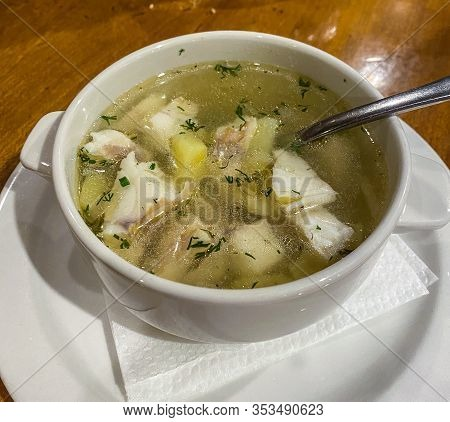 Traditional Russian Ear Dish Fish Soup Ukha From Zander, With Pieces Of Fish