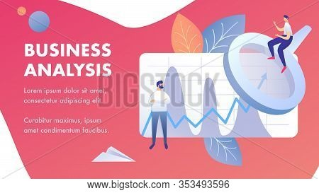 Business Analysis Abstract Banner Vector Template. Coworkers Analyzing Corporate Data Cartoon Charac