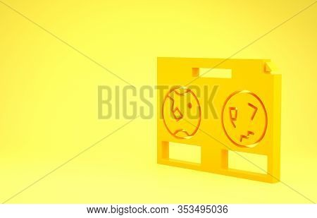 Yellow Celestial Map Of The Night Sky Icon Isolated On Yellow Background. Starry Hemisphere. Planisp