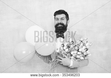 Birthday Greetings. Flowers Delivery. For Someone Special. Man Bearded Gentleman Suit Bow Tie Hold A