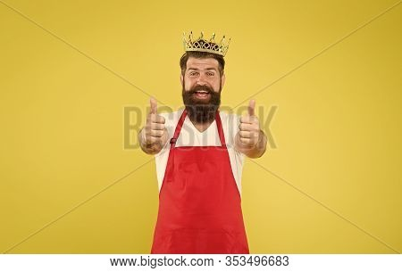 Kingdom Of Tastes. Cook Food. Cook With Beard And Mustache Yellow Background. Royal Recipe. Man King
