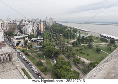 Rosario, Santa Fe / Argentina; Jan 4, 2017: National Flag Park And Parana River Seen From The Tower