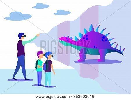 Man Showing Children Flat Virtual Dinosaur Projection. Cartoon School Teacher And Kids Wearing Vr Gl