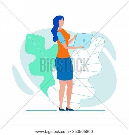 Woman Office Worker, Working With Laptop While Walking, Hurrying To Bring Her Job To An End, Or Goin
