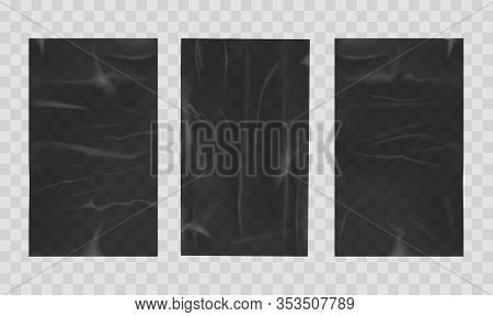 Wet Crumpled Sheets. Black Street Wall Sheet Mockups In Wetness, Advertising Paper Posters Backgroun