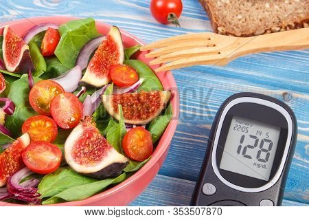 Fruit And Vegetable Salad And Glucose Meter With Result Of Measurement Sugar Level, Concept Of Diabe