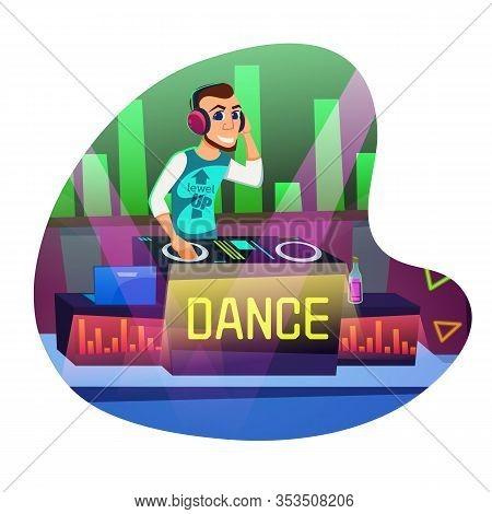Informational Flyer Dj Disco Dance Cartoon Flat. Top Night On Main Dance Floor Nightclub. Man With B