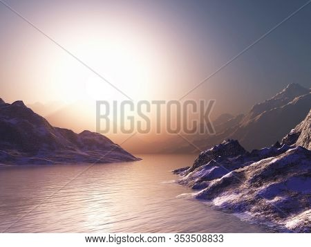 3D render of mountains against a sunset sky