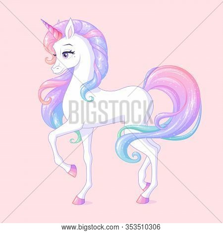 Beautiful White Unicorn With Pink Horn And Sparkly Mane. Isolated Vector Illustration.