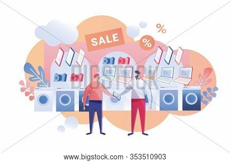 Discount For Household Appliances Cartoon Flat. Department Household And Digital Equipment And Equip