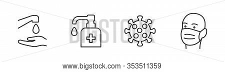 Hygiene Vector Icon Set. Virus Care Black Line Outline Icons Collection. Washing Hands, Anti Bacteri