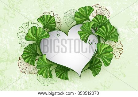 Banner In Shape Of Heart, Decorated With Green Stylized Leaves Of Ginko Biloba On Green Textured Bac