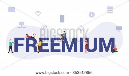 Freemium Freeware Software Business Concept With Big Word Or Text And Team People With Modern Flat S