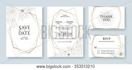 Wedding Invitation, Save The Date, Thank You, Rsvp Card Design Template. Vector. Flower, Rose, Green