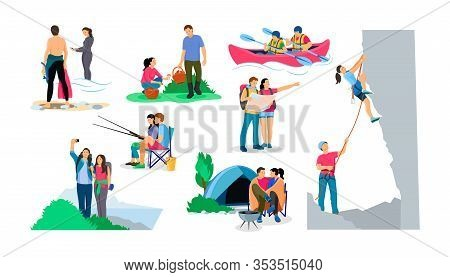 Tourists People Group Couple Hiking Cartoon Vector