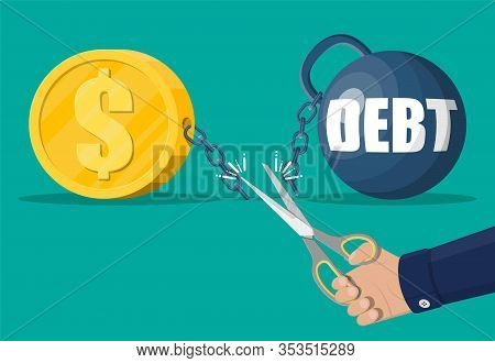 Businessman Hand With Scissors Cutting Debt Weight Chain. Big Heavy Debt Weight With Shackles And Go