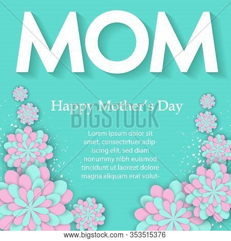 Happy Mother's Day flower card. International Happy Mothers Day. Holiday 3d background of pink paper flower on blue backdrop with square frame. Trendy design template. Spring floral banner with paper cut blooming pink cherry flowers on blue background for