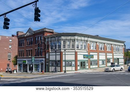 Woonsocket, Ri, Usa - Aug. 20, 2019: Historic Building On Clinton Street In Main Street Historic Dis