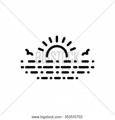 Black Line Icon For Lake Loch Lough Pond Pool Reservoir Lagoon Sun Sunrise Rise Water Nature