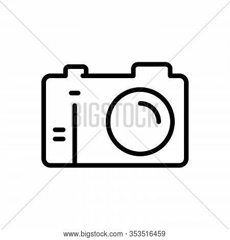 Black Line Icon For Camera Aperture Digital Photo Photography Picture Snapshot Flash Studio Capture