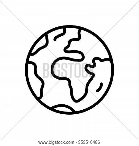Black Line Icon For Earth Terra Globe World Sphere Planet Ecology Continent