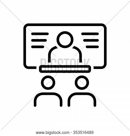 Black Line Icon For Faculty Bureau Division Conference Academy Briefing
