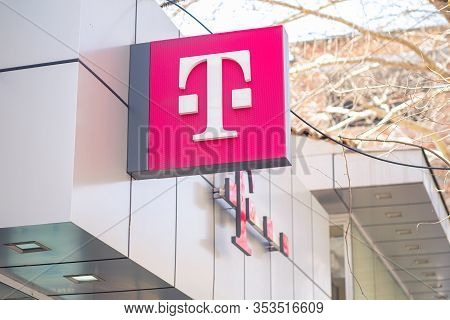 Tirana, Albania. February 2020: Logo Of T-mobile On The Store. T-mobile Is The Brand Name Deutsche T