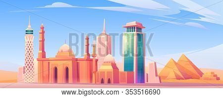 Egypt Landmarks, Cairo City Skyline Mobile Phone Background Or Screen Saver With World Famous Pyrami