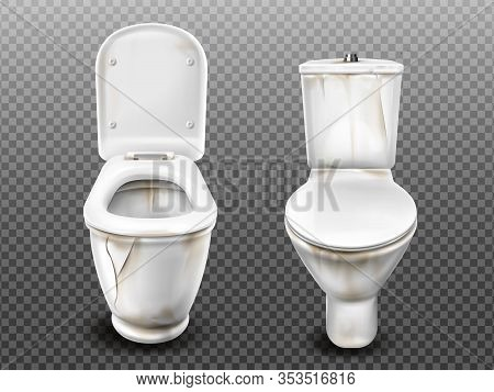 Old Dirty Toilet Bowl With Flush Tank, Open And Closed Seat Lid. Vector Realistic Broken Ceramic Lav