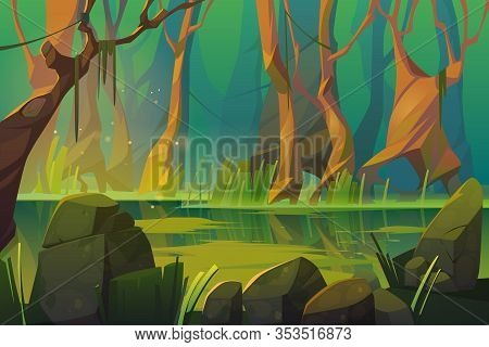 Swamp In Tropical Forest, Fairy Landscape With Marsh, Trees Trunks, Bog Grass And Rocks. Vector Cart