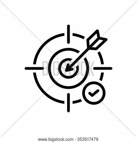 Black Line Icon For Objective Unprejudiced Challenge Bullseye Goal Accuracy Dart Archery