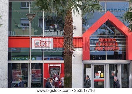 Tirana, Albania. February 2020: Bkt Bank Logo On Its Building In Tirana, Capital Of Albania