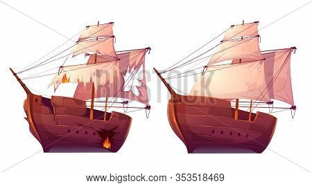 Retro Wooden Ships With White Sail Cartoon Vector. Galleon Or Frigate And Broken Sailboat After Sea