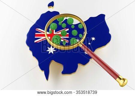 Contagious Hiv Aids, Flur Or Coronavirus With Australia Map. Coronavirus From Chine. 3d Rendering