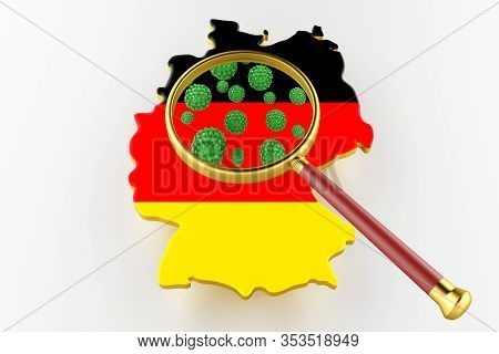 Contagious Hiv Aids, Flur Or Coronavirus With Germany Map. Coronavirus From Chine. 3d Rendering