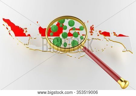 Contagious Hiv Aids, Flur Or Coronavirus With Indonesia Map. Coronavirus From Chine. 3d Rendering