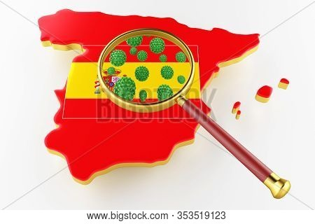 Contagious Hiv Aids, Flur Or Coronavirus With Spain Map. Coronavirus From Chine. 3d Rendering