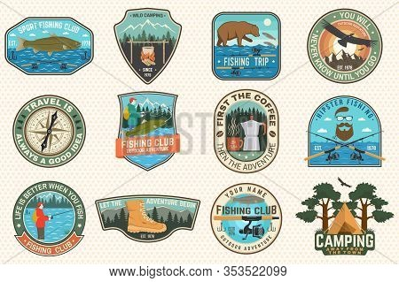 Set Of Fishing, Camping Patch. Vector. Concept For Shirt Or Logo, Print, Stamp, Tee, Patch. Vintage