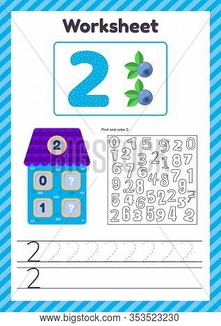 Vector Illustration. Worksheet Count For Kids. Berry. House. Number Bonds. Trace Line. The Study Of