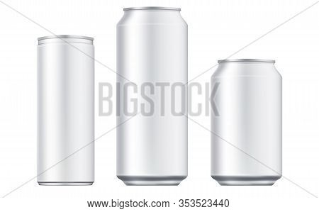 Vector Aluminium Beer And Slim Soda Can Mock Up Blank Template. Juice, Soda, Beer Jar Blank Isolated