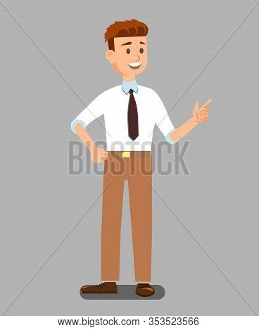 Business Man Pointing With Finger In Official Clothes Poster Vector Illustration. Cartoon Realistic