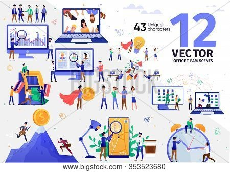 E-commerce Startup Team, Internet Entrepreneur, Digital Marketing Specialist Work Trendy Flat Vector