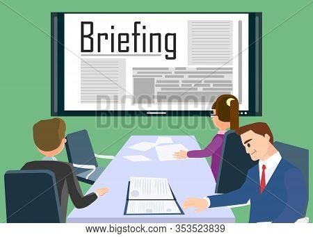 Business Training Concept Banner Vector Illustration. Corporate Staff Sitting At Table. Briefing Mee