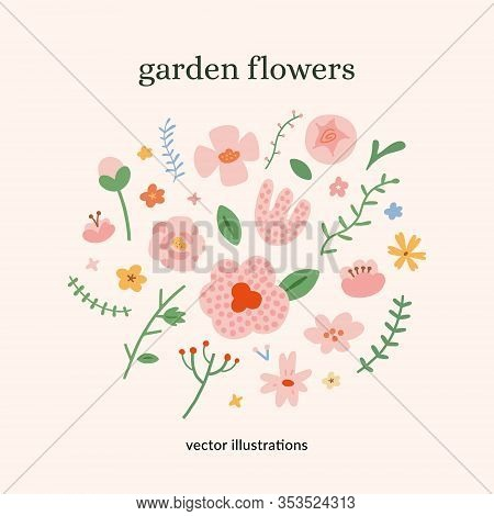 Spring Flowers Collection, Various Doodle Flowers, Isolated Vector Illustrations, Leaves And Branche