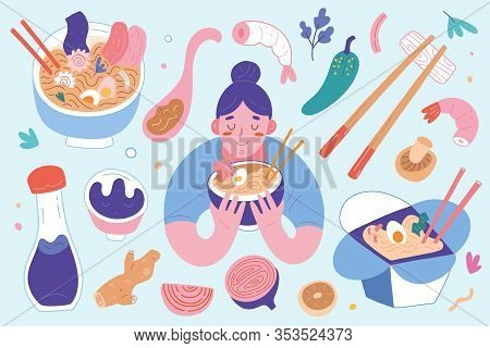 Ramen Collection, Bowls And Chopsticks With Ingredients, Woman Eating Noodle Soup With Broth, Asian