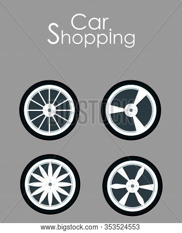 Car Spare Parts Shopping Flat Banner Template. Vehicle Details, Accessories Assortment Typography. W